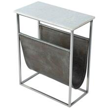 A stunning combination of marble, iron and leather! This magazine table is a beautiful compliment to any space.