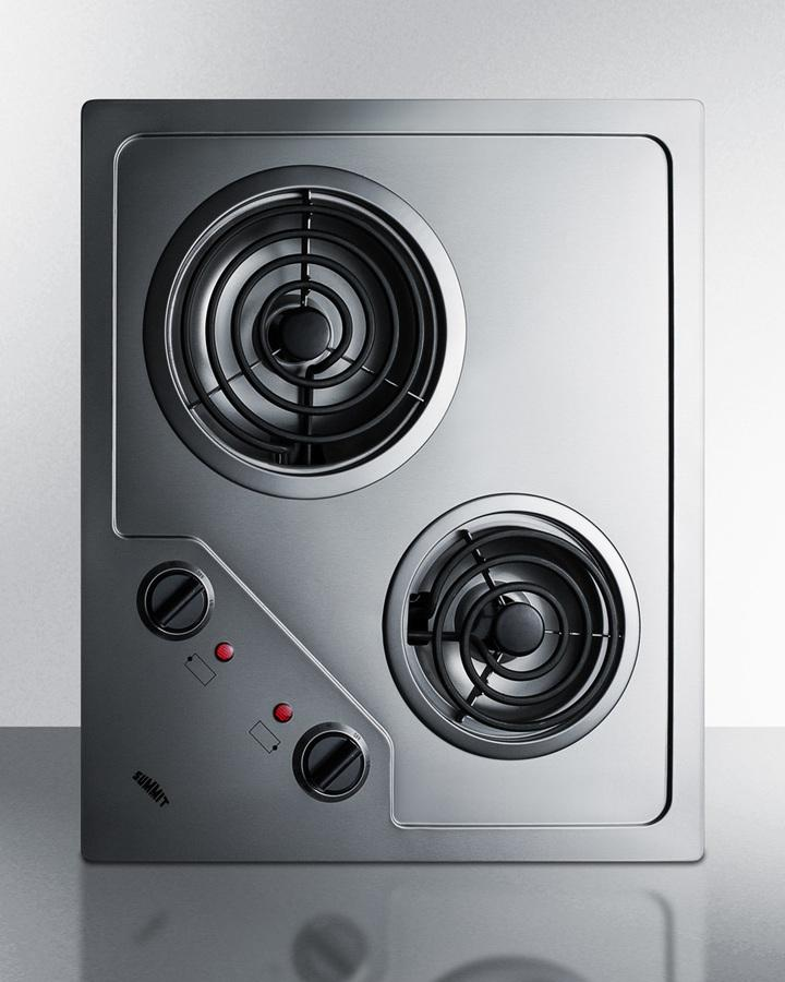 Summit2-Burner 230v Electric Cooktop Designed For Portrait Or Landscape Installation, With Coil Elements And Stainless Steel Finish