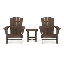 View Product - Wave 3-Piece Adirondack Chair Set with The Crest Chairs in Mahogany
