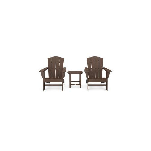 Polywood Furnishings - Wave 3-Piece Adirondack Chair Set with The Crest Chairs in Mahogany