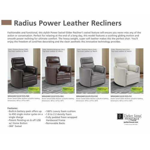 Parker House - RADIUS - FLORENCE HERON - Powered By FreeMotion Power Cordless Swivel Glider Recliner