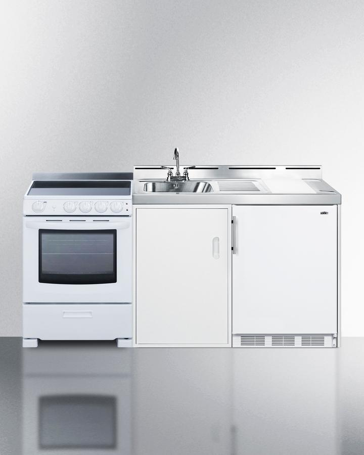 """Summit72"""" Wide All-In-One Kitchenette With Electric Range"""