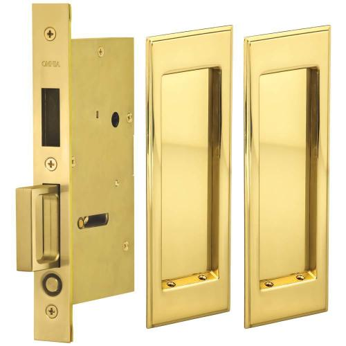 Pair Dummy Pocket Door Lock with Traditional Rectangular Trim featuring Mortise Edge Pull in (US3 Polished Brass, Lacquered)