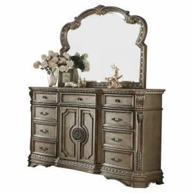 ACME Northville Dresser w/Wooden Top - 26938 - Antique Silver