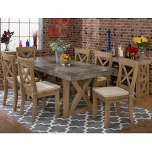 See Details - Boulder Ridge Rect. Concrete Dining Table W/(4) X Back Chairs W/cushions