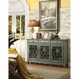 See Details - Traditional Antique Green Three-door Cabinet
