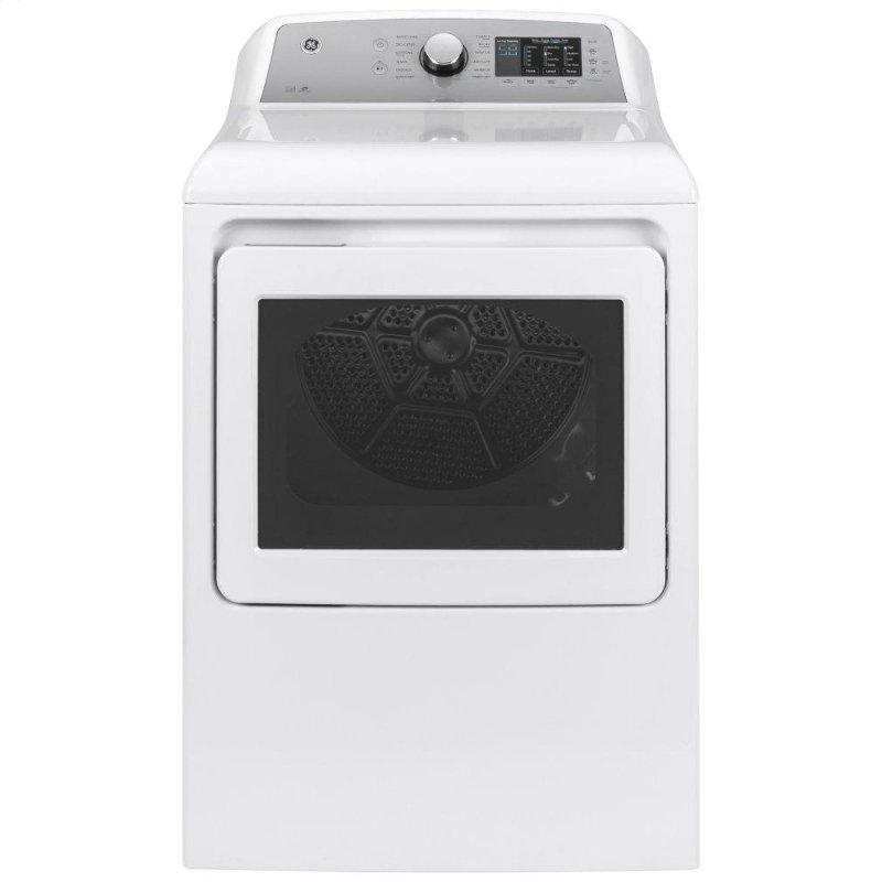 GE(R) 7.4 cu. ft. Capacity aluminized alloy drum Electric Dryer with Sanitize Cycle and Sensor Dry