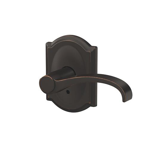 Custom Whitney Lever with Camelot Trim Hall-Closet and Bed-Bath Lock - Aged Bronze