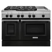 48'' 6-Burner with Griddle, Dual Fuel Freestanding Range, Commercial-Style Imperial Black Product Image
