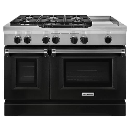 KitchenAid - 48'' 6-Burner with Griddle, Dual Fuel Freestanding Range, Commercial-Style Imperial Black