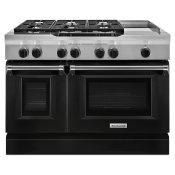 48'' 6-Burner with Griddle, Dual Fuel Freestanding Range, Commercial-Style Imperial Black