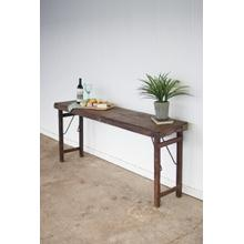 See Details - antique wooden folding console table