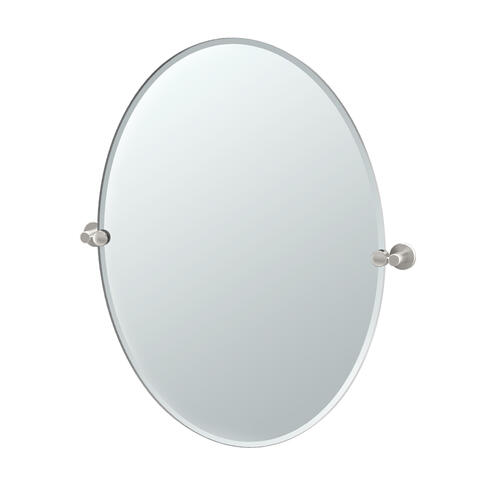 Channel Oval Mirror in Satin Nickel