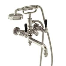 Arcade Exposed Wall-mount Bathtub Faucet with Handshower and Black Lever Handles - Polished Chrome