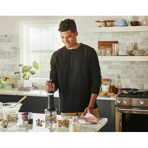 KitchenAid - Cordless Variable Speed Hand Blender with Chopper and Whisk Attachment - Black Matte