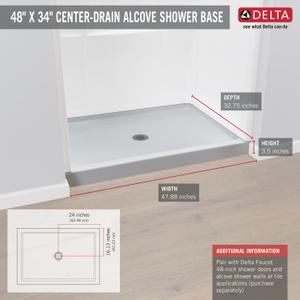 """High Gloss White 48"""" X 34"""" Shower Base Product Image"""