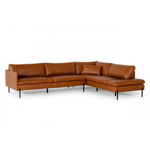 VIG Furniture - Divani Casa Sherry - Modern Cognac Leather Right Facing Sectional Sofa