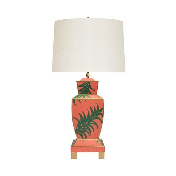 The Extraordinary Bianca Table Lamp Is A Modern Take On A Timeless Classic, Featuring A Distinctive Urn-shaped Base With Hand-painted Tole In A Playful Palm Leaf Pattern. Accented With Gleaming Gold Edges and Floating Atop A Four Leg Base, Bianca Is A Stunning Addition To Brighten Any Room.