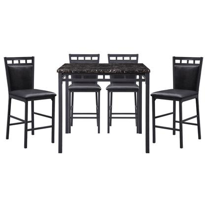 See Details - 5-Piece Pack Counter Height Set, Faux Marble Top