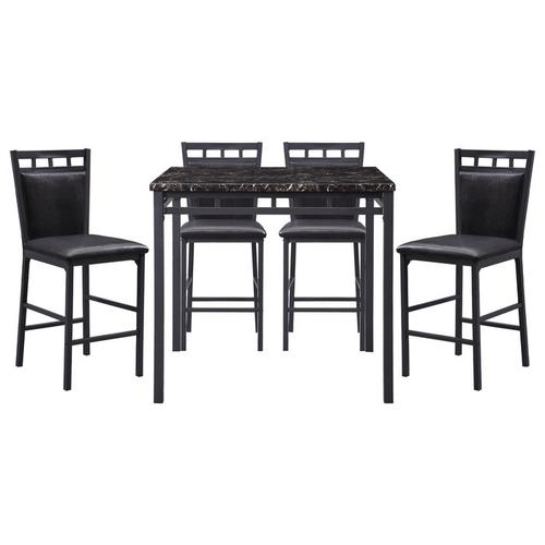 Gallery - 5-Piece Pack Counter Height Set, Faux Marble Top