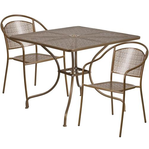 35.5'' Square Gold Indoor-Outdoor Steel Patio Table Set with 2 Round Back Chairs