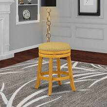 "Devers Swivel Backless Barstool 24"" Seat Height With Oak Leg And F12-16 Pu Leather Vegas Gold"