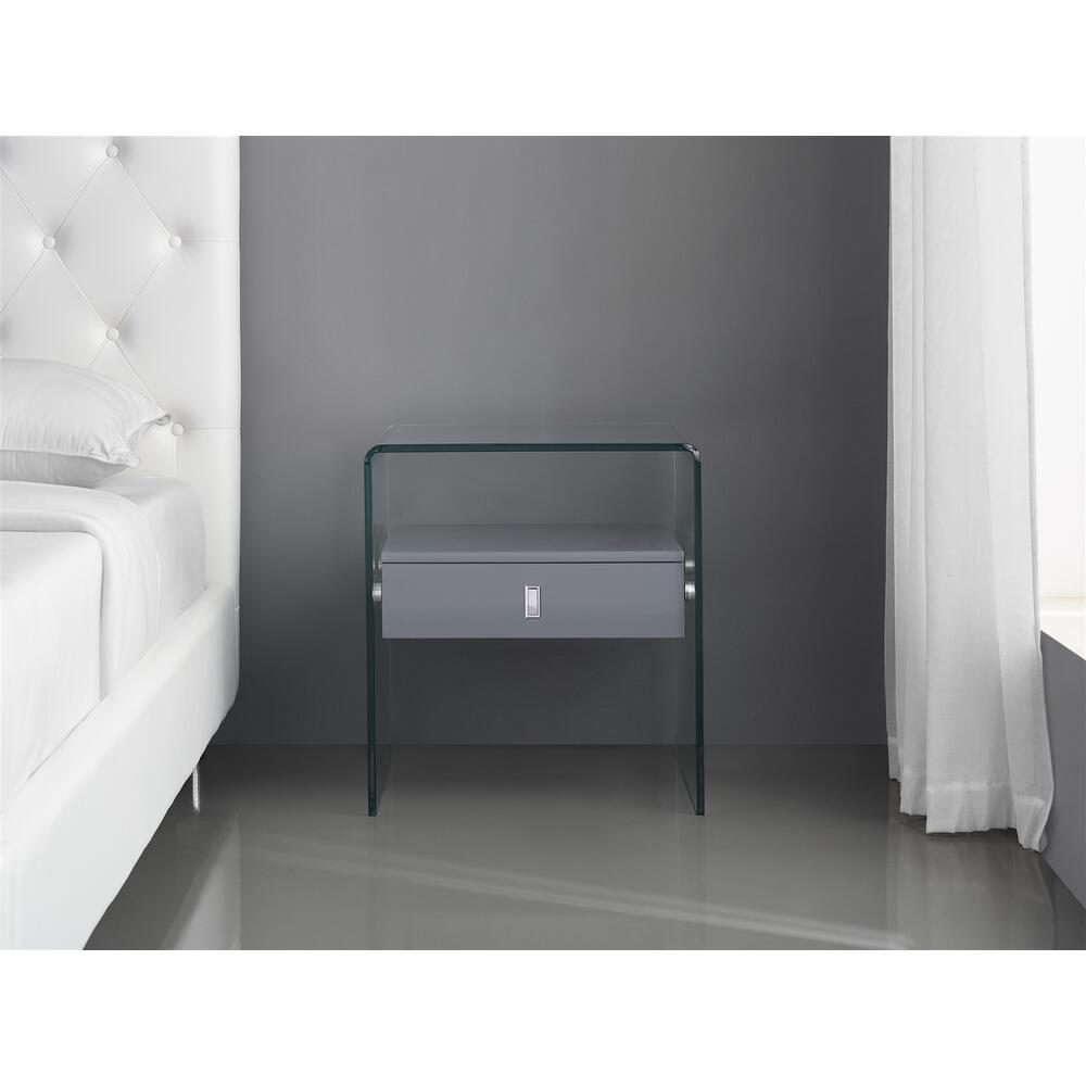 The Bari Nightstand In High Gloss Dark Gray Lacquer With Glass