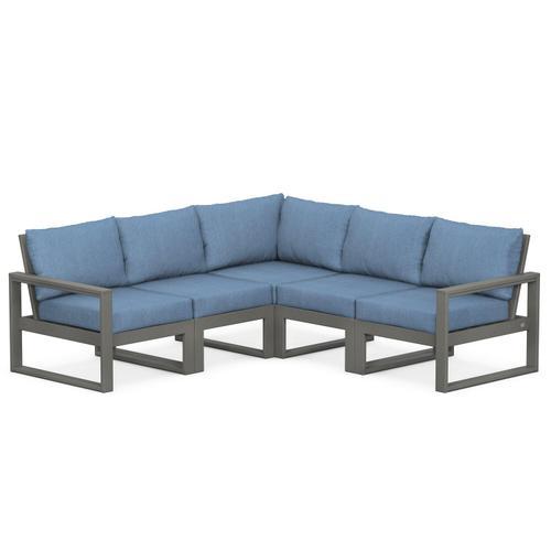 Polywood Furnishings - EDGE 5-Piece Modular Deep Seating Set in Slate Grey / Sky Blue