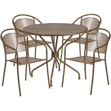 35.25'' Round Gold Indoor-Outdoor Steel Patio Table Set with 4 Round Back Chairs