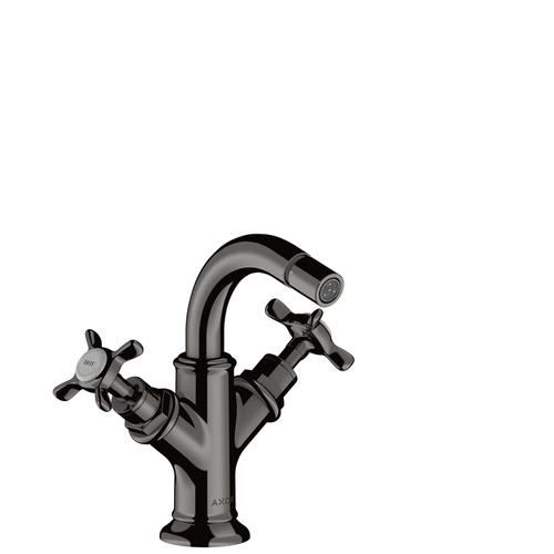 Polished Black Chrome 2-handle bidet mixer with cross handles and pop-up waste set