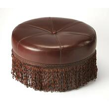This round cocktail ottoman is a decorative and functional addition to your home decor. This round ottoman has a Meranti wood frame, which ensures years of reliable use. It features high-quality leather upholstery that makes comfortable and durable. The s