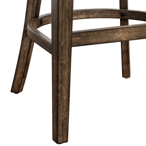 Caydena Wood Counter Height Return Swivel Stool, Rustic Gray
