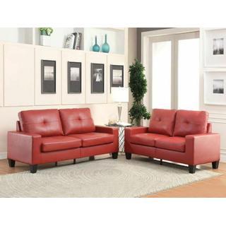 ACME Platinum II Sofa & Loveseat - 52745 - Red PU