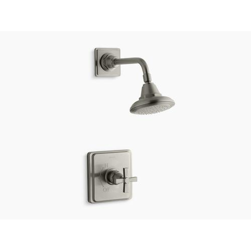 Kohler - Vibrant Brushed Nickel Rite-temp Shower Valve Trim With Cross Handle and 2.5 Gpm Showerhead