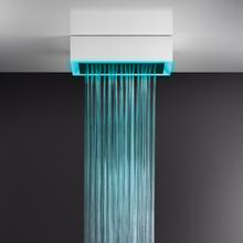 "Surface mounted shower system 17-11/16"" x 23-7/16"" RAINFALL function and chromotherapy effect 1/2"" connections Max Flow rate 1"