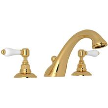 See Details - Viaggio 3-Hole Deck Mount C-Spout Tub Filler - Italian Brass with White Porcelain Lever Handle