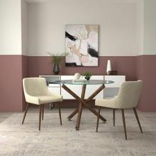 See Details - Rocca/Bianca 3pc Dining Set, Walnut/Walnut & Beige