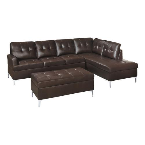Gallery - 3-Piece Sectional with Right Chaise and Ottoman