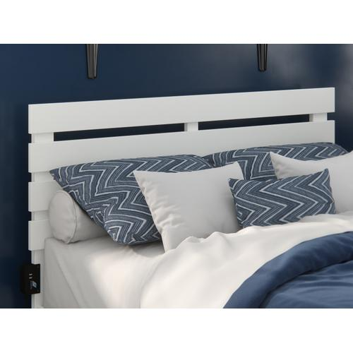 Atlantic Furniture - Oxford Full Headboard with USB Turbo Charger in White