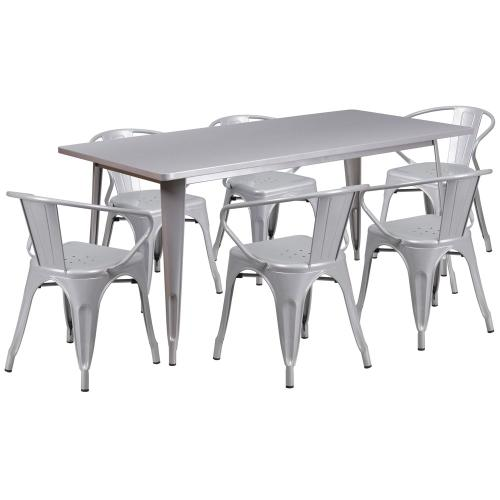 31.5'' x 63'' Rectangular Silver Metal Indoor-Outdoor Table Set with 6 Arm Chairs