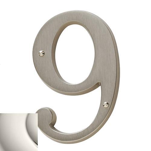Polished Nickel House Number - 9