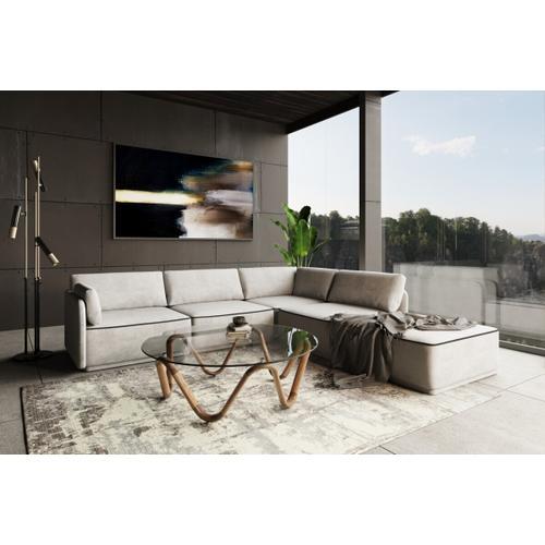 VIG Furniture - Divani Casa Blythe - Modern Light Grey Velvet Sectional Sofa + Ottoman
