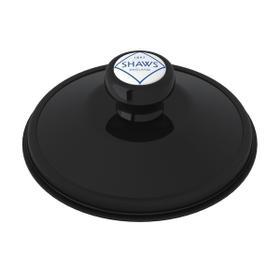 Black Shaws Disposal Stopper With Shaws Logo Branded White Porcelain Pull Knob