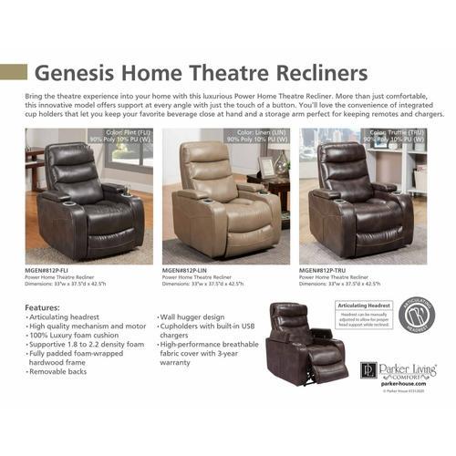 Gallery - GENESIS - LINEN Power Home Theater Recliner