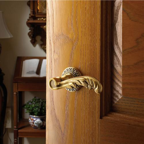 Baldwin - Satin Brass and Brown 5121 Estate Lever