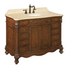 View Product - Belle Foret 48 in. Vanity in Dark Cherry with Marble Vanity Top in Cream
