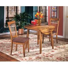 Berringer - Rustic Brown Dining Set - 2 Dining Room Chairs and 1 Round Drop-Leaf Table