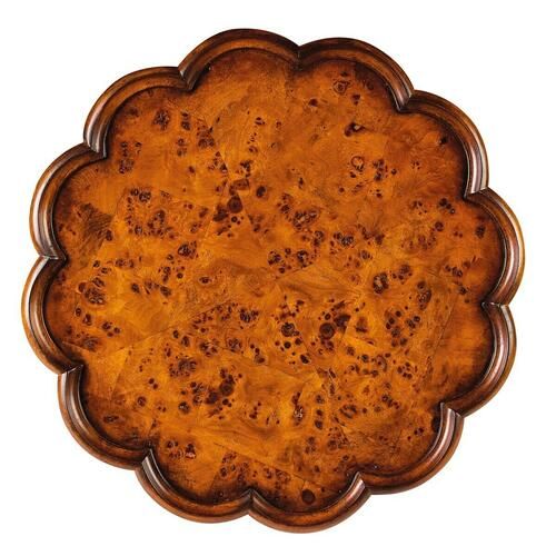 Butler Specialty Company - Selected solid woods and choice ash burl veneers. Four-way matched veneer top with pie crust frame. Resin appliques.