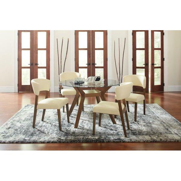See Details - Paxton Mid-century Modern Glass Five-piece Dining Table Set