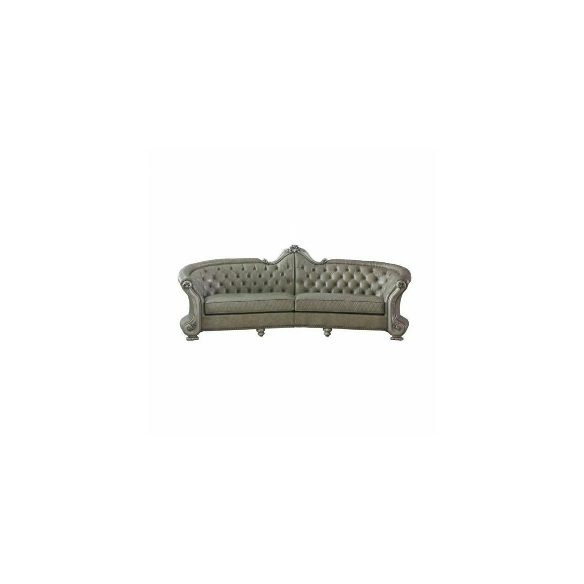 ACME Dresden Sofa - 58170 - Traditional, Vintage - PU, Frame: Wood (Solid Wood, Ply), Poly-Resin (Fiberglass) - Vintage Bone White and PU